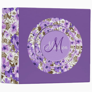 Pretty Monogram Purple & White Floral Binder 3