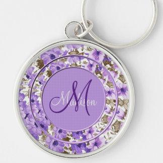 Pretty Monogram Purple & White Floral Key Chain