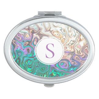 Pretty Monogram Silver Aquamarine Pink Reflections Makeup Mirror