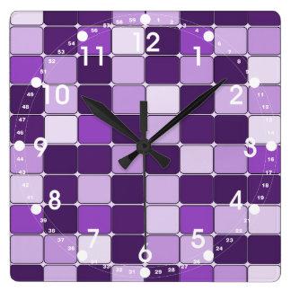 Pretty Mosaic Tile Pattern Purple Lilac Lavender Square Wall Clock