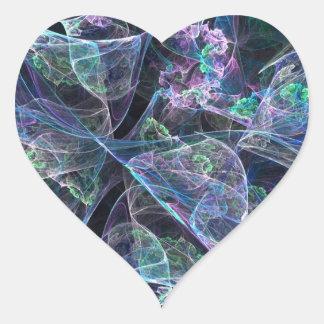 Pretty Multi Colored Fractal Heart Sticker