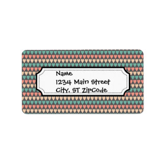 Pretty Multi Colored Heart Striped Pattern Label