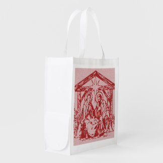 pretty nativity red outline_edited-1 reusable grocery bag