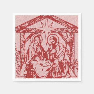 pretty nativity red paper napkin