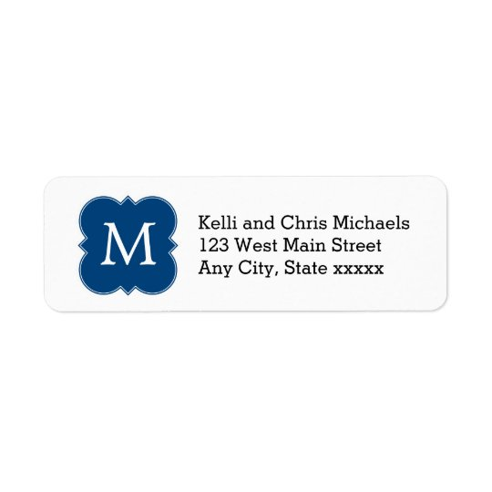 Pretty Navy Blue Monogram Return Address Labels