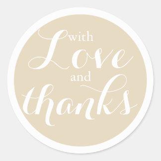 Pretty Neutral Beige Love and Thanks Wedding Classic Round Sticker