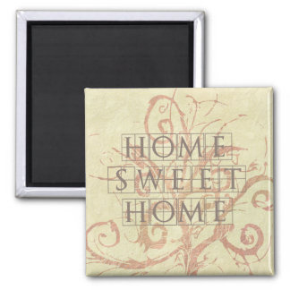 Pretty Neutral Beige Vine Flourish Home Sweet Home Square Magnet