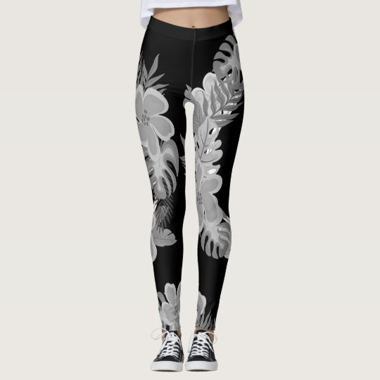 Pretty Neutral Black and Grey Floral Leggings