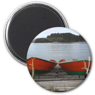 Pretty Newfoundland Boats 2 Inch Round Magnet