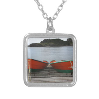 Pretty Newfoundland Boats Silver Plated Necklace