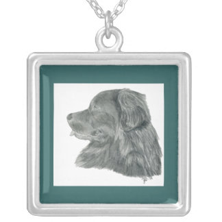 Pretty Newfoundland Dog Silver Plated Necklace