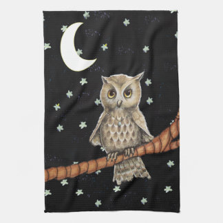 Pretty Night Owl Necklace Moon Stars on Black Kitchen Towel