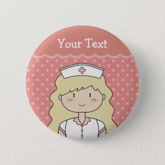 Pretty nurse with wavy hair 2 inch round button