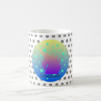 """Pretty ombre unicorn with word gratitude"" Mug"