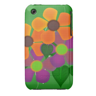 Pretty Orange and Purple Spring Flowers iPhone 3 Covers