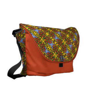 Pretty Orange Floral Pattern Courier Bags