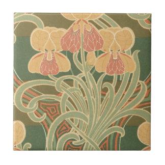 pretty orange flowers art nouveau design tile