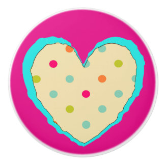 Pretty orange teal and pink Polka Dot Heart Knob Ceramic Knob