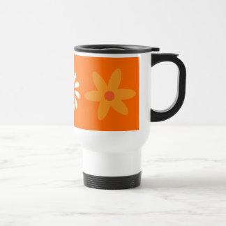 Pretty orange & white flowers travel mug