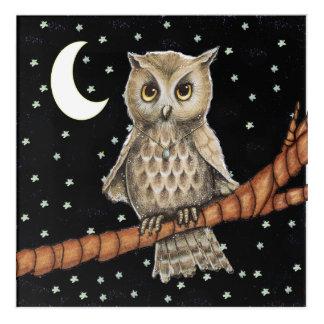 Pretty Owl Golden Eyes on Branch Blue Necklace Acrylic Print