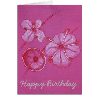 Pretty Painted Flowers Birthday Card