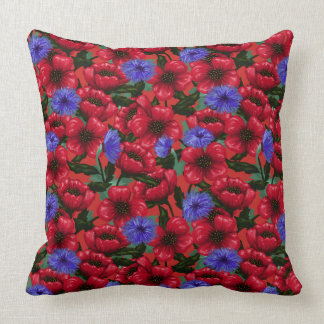 Pretty Painted Poppies and Cornflowers Throw Pillow