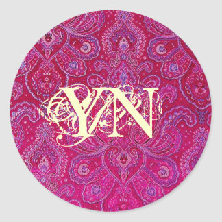 Pretty Paisely monogram Round Sticker