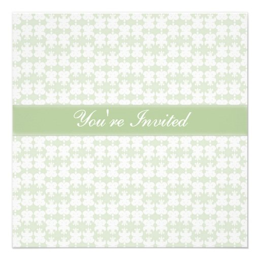 Pretty Pale Green Pattern Personalized Announcement