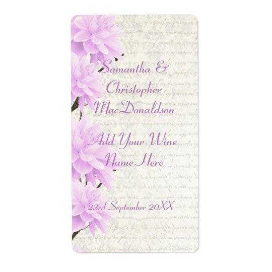 Pretty pale lilac  floral wedding wine bottle