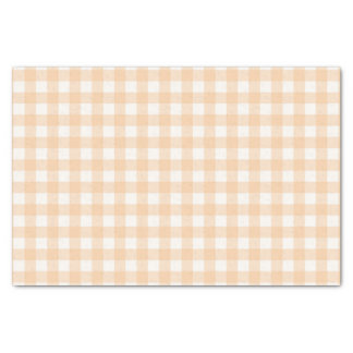 Pretty Pale Peach Gingham Checked Pattern Tissue Paper