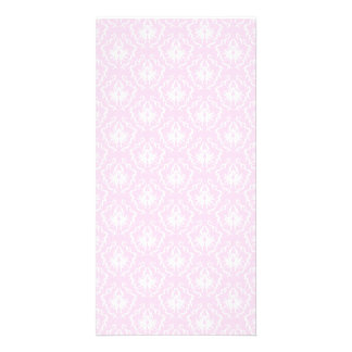 Pretty pale pink damask pattern with white. custom photo card