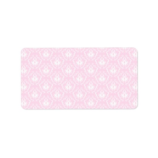 Pretty pale pink damask pattern with white. label