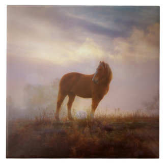 Pretty Palomino Mustang Horse Tile