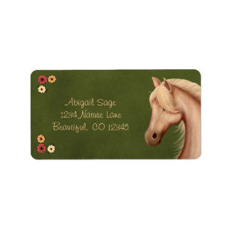Pretty Palomino Pony and Flowers Horse Address