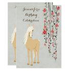 Pretty Palomino Pony Flowers Horse Birthday Invite