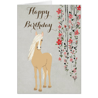 Pretty Palomino Pony Flowers Horse Happy Birthday Card