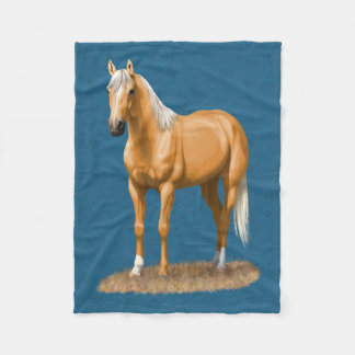Pretty Palomino Thoroughbred Quarter Horse Fleece Blanket