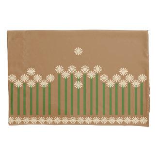 Pretty panel of Cream daisies on mocha background Pillowcase