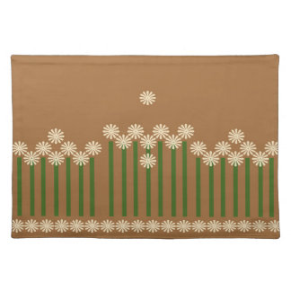 Pretty panel of Cream daisies on mocha background Placemat