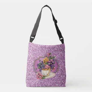 Pretty Pansies in Teacup Lavender Faux Glitter Crossbody Bag