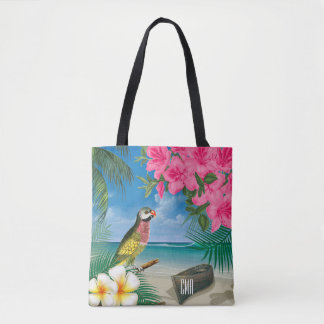 Pretty Parakeet on a Tropical Ocean Design Tote Bag