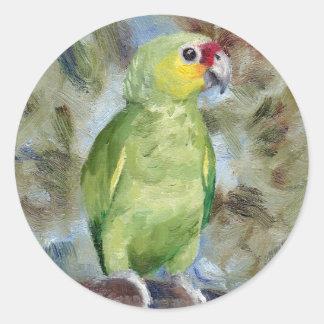 Pretty Parrot Round Sticker
