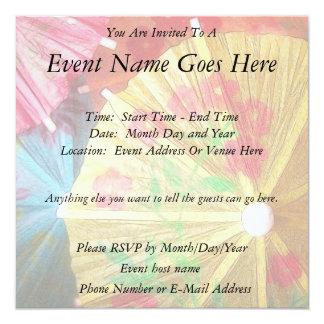 """Pretty Party Parasols 5.25"""" Square Invitation Card"""
