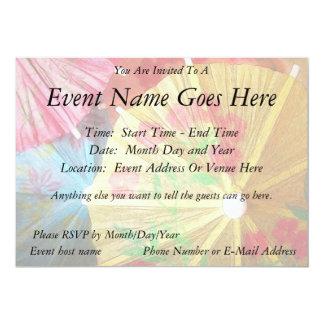 """Pretty Party Parasols 5"""" X 7"""" Invitation Card"""