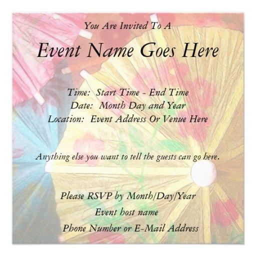 Pretty Party Parasols Custom Invitation