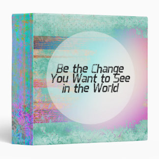 Pretty Pastel Be the Change Inspirational Quote 3 Ring Binders