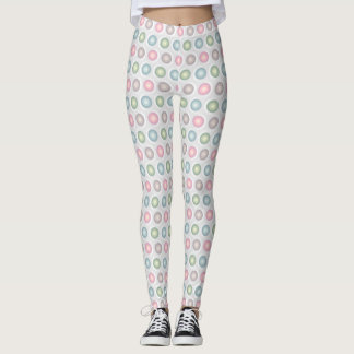 Pretty Pastel Circles on Gray and White background Leggings