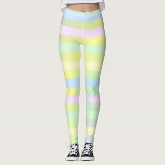 pretty pastel colors stripes leggings