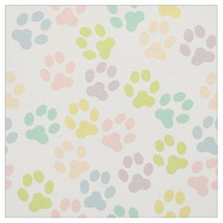 Pretty Pastel Doggy Paw Prints Pattern Fabric