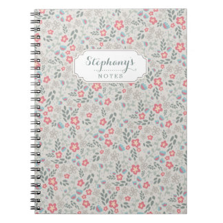 Pretty Pastel Floral Pattern Custom Name Notebook
